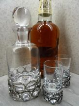Pewter Eternity Design Mini Decanter and Shot Glass Set